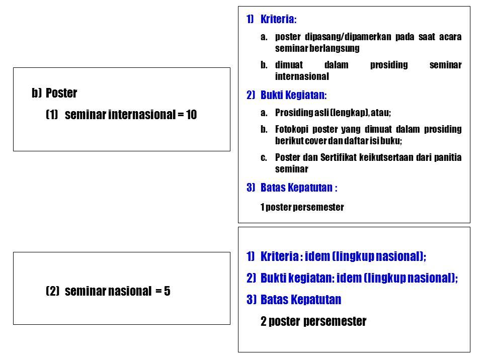 b)Poster (1)seminar internasional = 10 1)Kriteria: a.poster dipasang/dipamerkan pada saat acara seminar berlangsung b.dimuat dalam prosiding seminar i