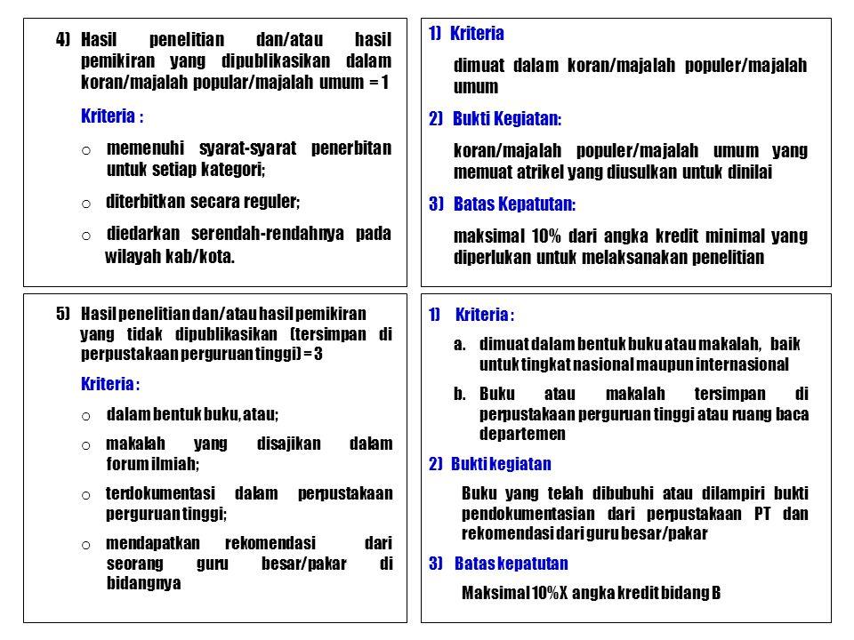 4)Hasil penelitian dan/atau hasil pemikiran yang dipublikasikan dalam koran/majalah popular/majalah umum = 1 Kriteria : o memenuhi syarat-syarat pener