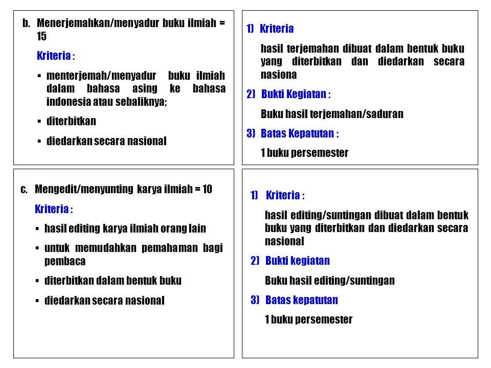 b.Menerjemahkan/menyadur buku ilmiah = 15 Kriteria :  menterjemah/menyadur buku ilmiah dalam bahasa asing ke bahasa indonesia atau sebaliknya;  dite