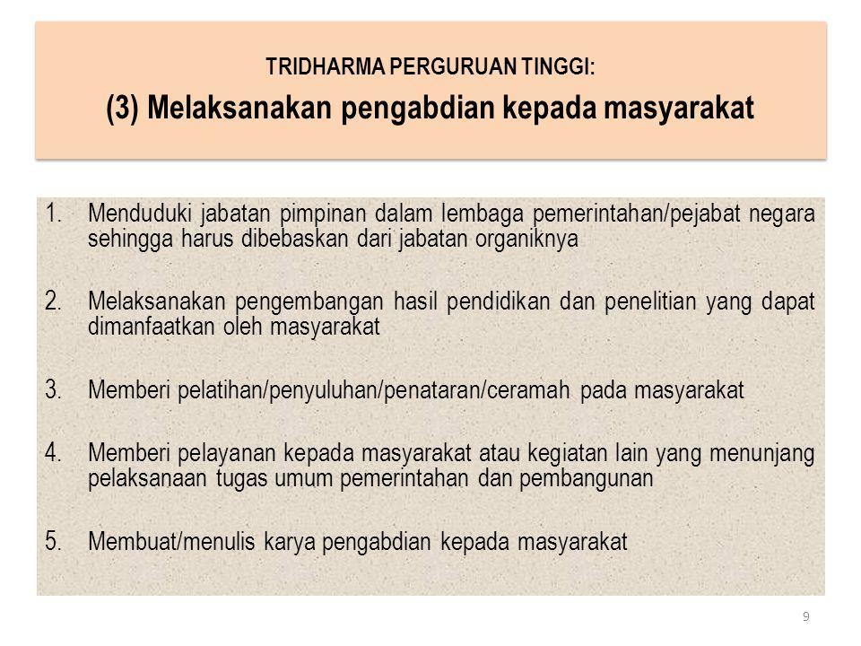 1.Menduduki jabatan pimpinan dalam lembaga pemerintahan/pejabat negara sehingga harus dibebaskan dari jabatan organiknya 2.Melaksanakan pengembangan h