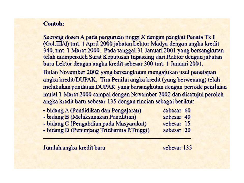 Contoh: Seorang dosen A pada perguruan tinggi X dengan pangkat Penata Tk.I (Gol.III/d) tmt. 1 April 2000 jabatan Lektor Madya dengan angka kredit 340,