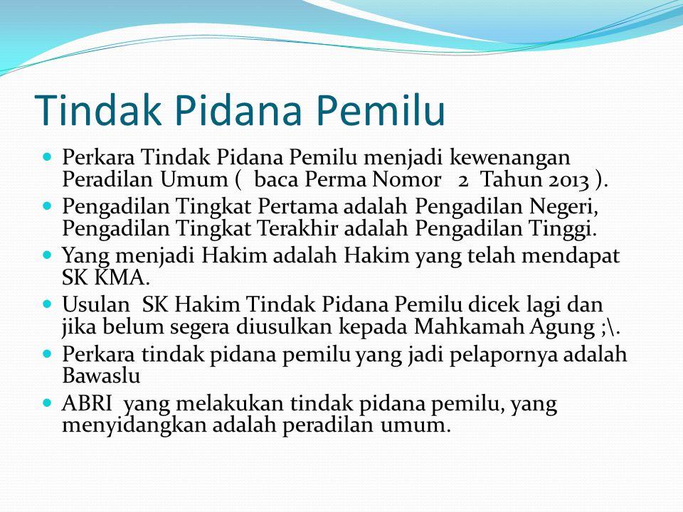 Tindak Pidana Pemilu  Perkara Tindak Pidana Pemilu menjadi kewenangan Peradilan Umum ( baca Perma Nomor 2 Tahun 2013 ).  Pengadilan Tingkat Pertama