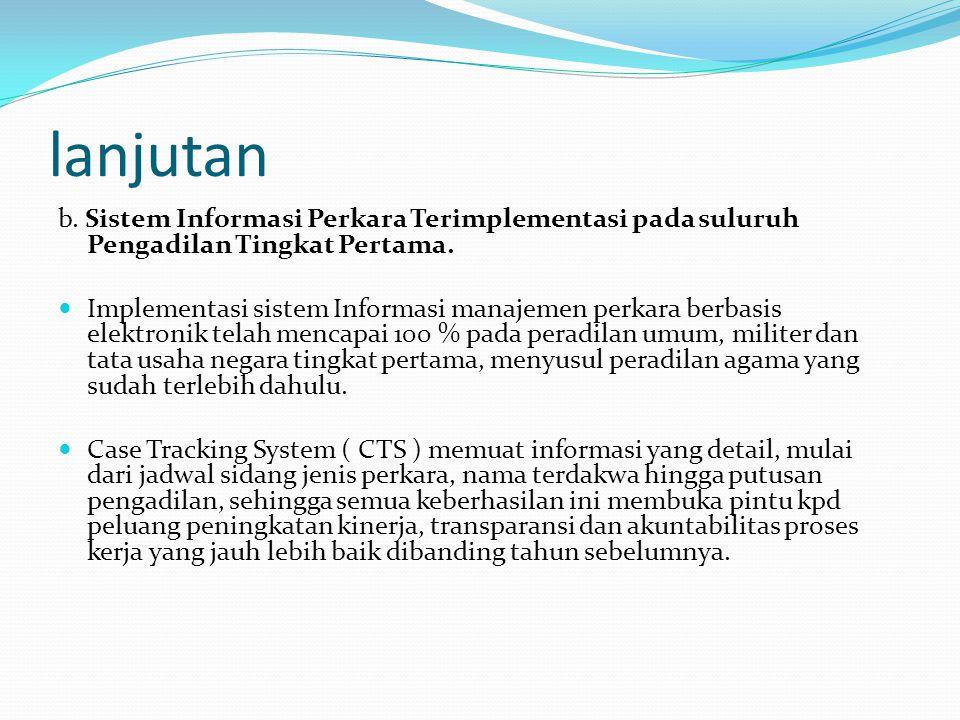 lanjutan b. Sistem Informasi Perkara Terimplementasi pada suluruh Pengadilan Tingkat Pertama.  Implementasi sistem Informasi manajemen perkara berbas