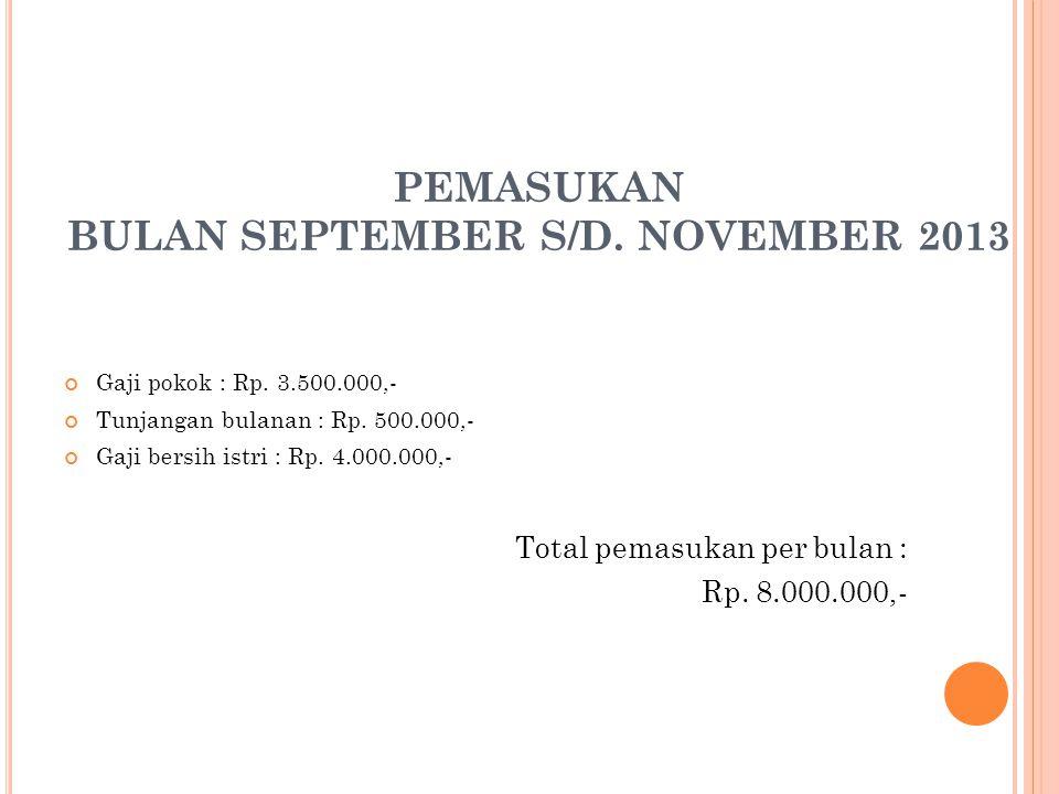 PEMASUKAN BULAN SEPTEMBER S/D. NOVEMBER 2013 Gaji pokok : Rp.