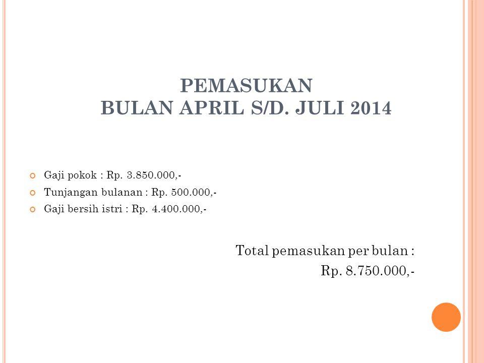 PEMASUKAN BULAN APRIL S/D. JULI 2014 Gaji pokok : Rp.