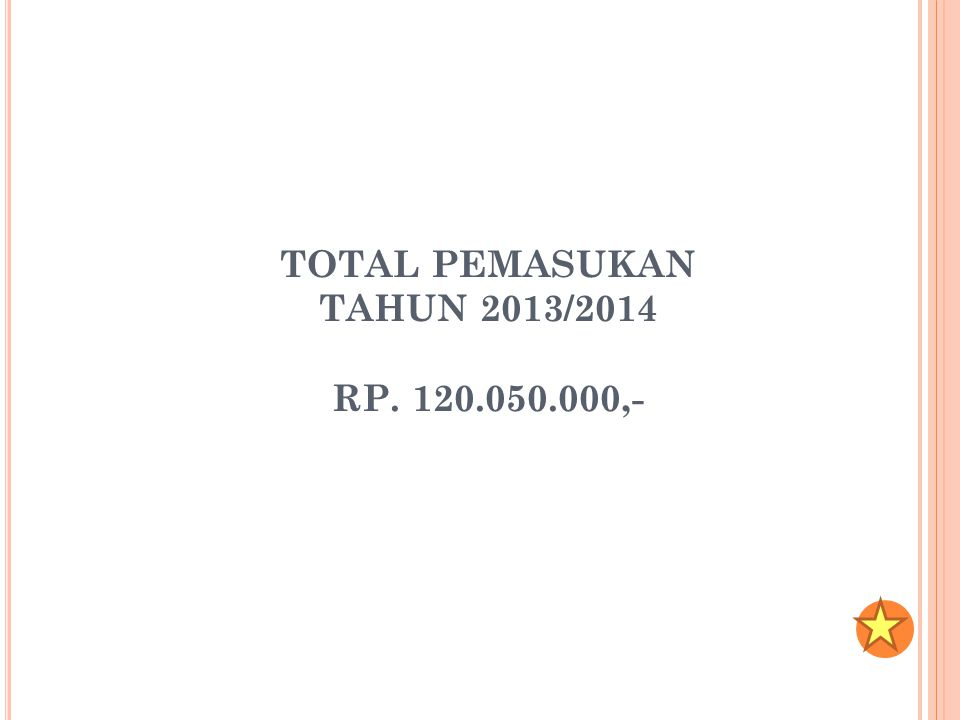 TOTAL PEMASUKAN TAHUN 2013/2014 RP. 120.050.000,-