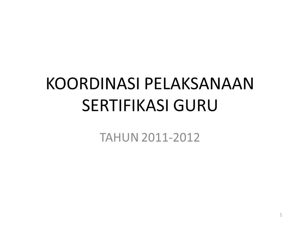 KOORDINASI PELAKSANAAN SERTIFIKASI GURU TAHUN 2011-2012 1