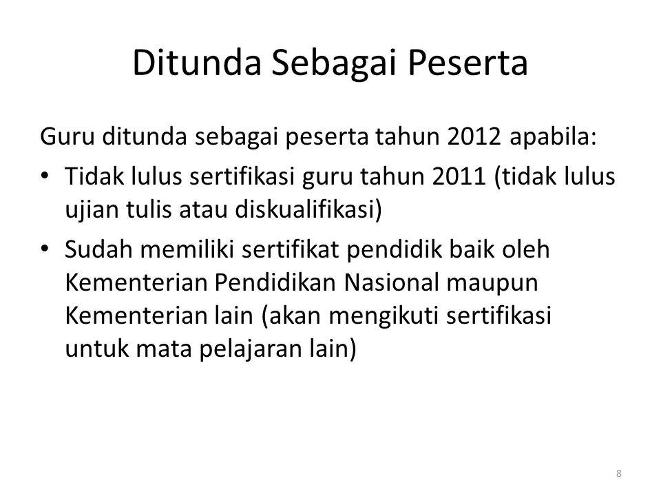 Ditunda Sebagai Peserta Guru ditunda sebagai peserta tahun 2012 apabila: • Tidak lulus sertifikasi guru tahun 2011 (tidak lulus ujian tulis atau disku