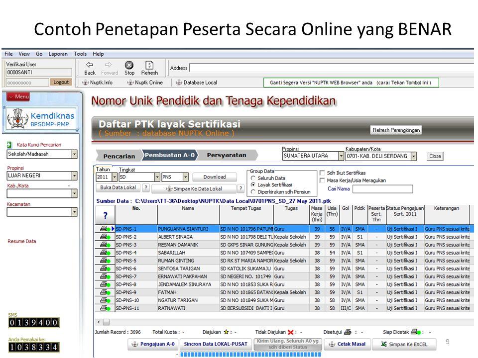 Contoh Penetapan Peserta Secara Online yang BENAR 9