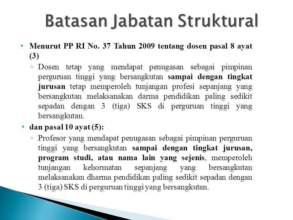 • Menurut PP RI No. 37 Tahun 2009 tentang dosen pasal 8 ayat (3) ◦ Dosen tetap yang mendapat penugasan sebagai pimpinan perguruan tinggi yang bersangk