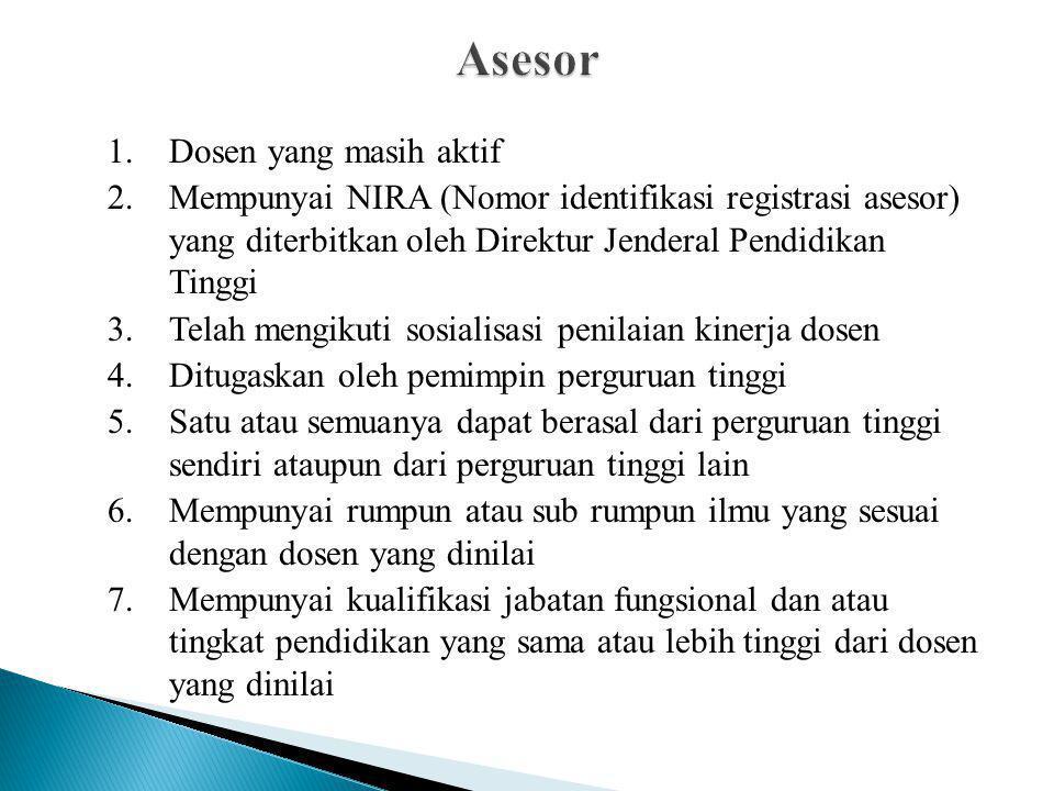1.Dosen yang masih aktif 2.Mempunyai NIRA (Nomor identifikasi registrasi asesor) yang diterbitkan oleh Direktur Jenderal Pendidikan Tinggi 3.Telah men