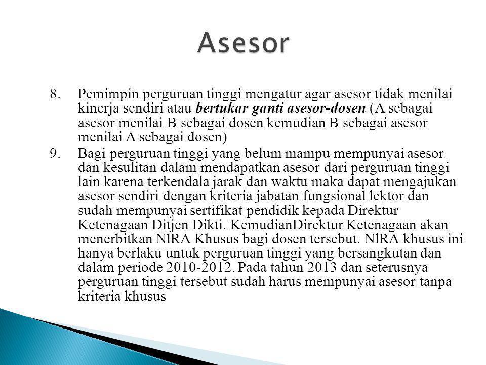 8.Pemimpin perguruan tinggi mengatur agar asesor tidak menilai kinerja sendiri atau bertukar ganti asesor-dosen (A sebagai asesor menilai B sebagai do