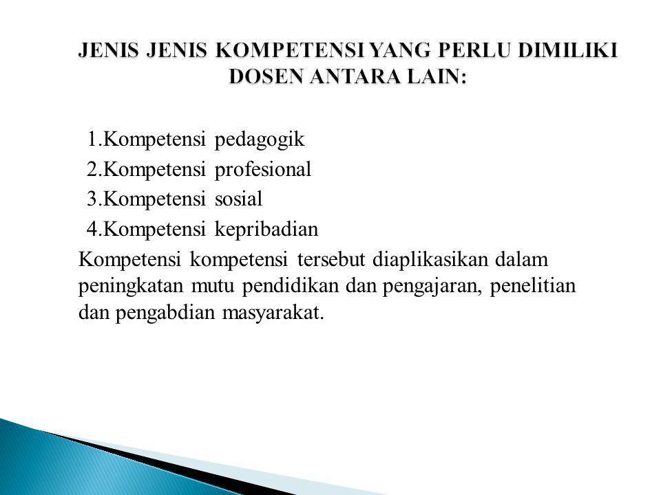 1.Kompetensi pedagogik 2.Kompetensi profesional 3.Kompetensi sosial 4.Kompetensi kepribadian Kompetensi kompetensi tersebut diaplikasikan dalam pening