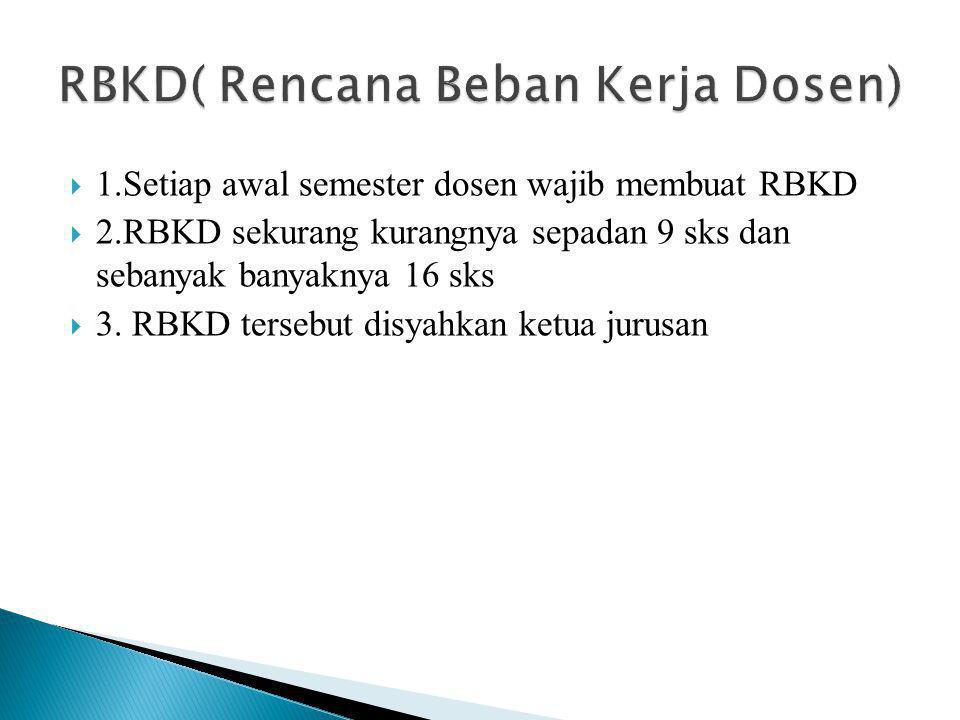  1.Setiap awal semester dosen wajib membuat RBKD  2.RBKD sekurang kurangnya sepadan 9 sks dan sebanyak banyaknya 16 sks  3.