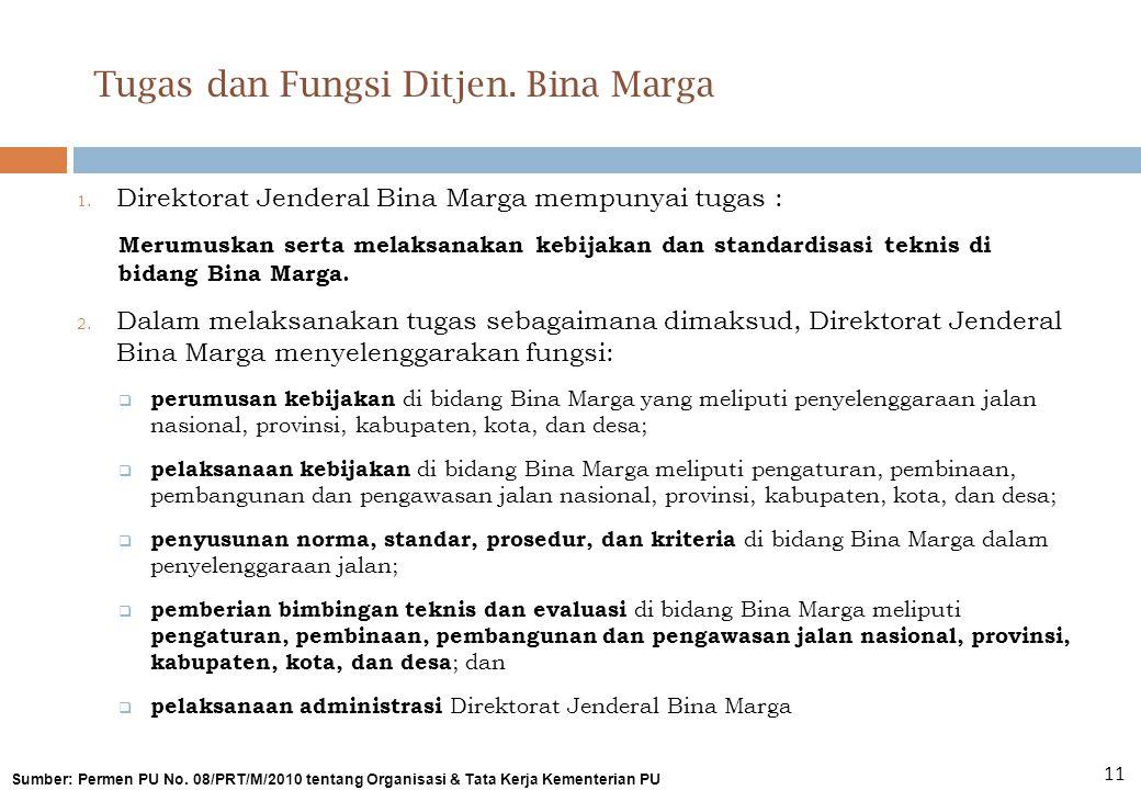 Tugas dan Fungsi Ditjen. Bina Marga 1. Direktorat Jenderal Bina Marga mempunyai tugas : Merumuskan serta melaksanakan kebijakan dan standardisasi tekn