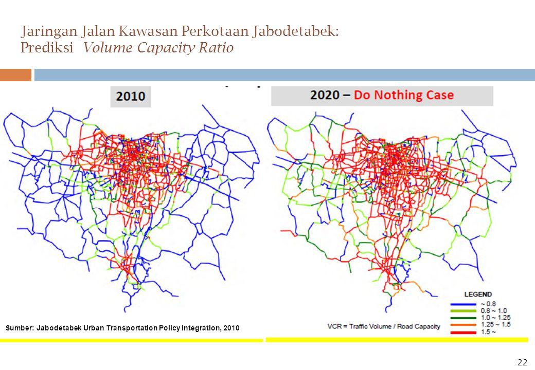 Jaringan Jalan Kawasan Perkotaan Jabodetabek: Prediksi Volume Capacity Ratio Sumber: Jabodetabek Urban Transportation Policy Integration, 2010 22