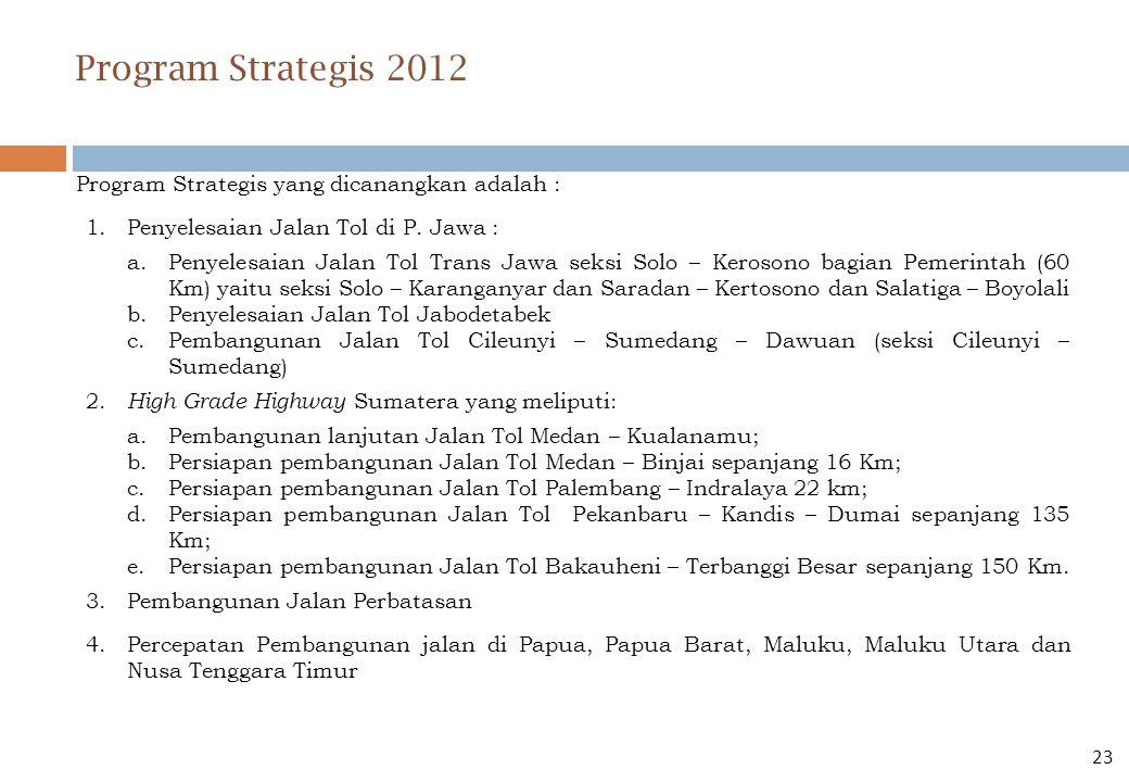 Program Strategis yang dicanangkan adalah : 1.Penyelesaian Jalan Tol di P. Jawa : a.Penyelesaian Jalan Tol Trans Jawa seksi Solo – Kerosono bagian Pem