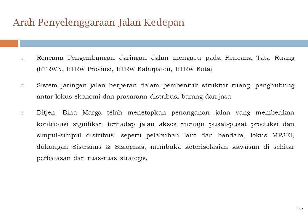 1. Rencana Pengembangan Jaringan Jalan mengacu pada Rencana Tata Ruang (RTRWN, RTRW Provinsi, RTRW Kabupaten, RTRW Kota) 2. Sistem jaringan jalan berp