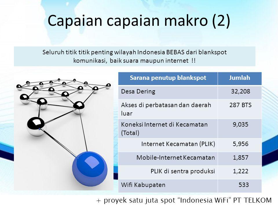 Capaian capaian makro (2) Seluruh titik titik penting wilayah Indonesia BEBAS dari blankspot komunikasi, baik suara maupun internet !.