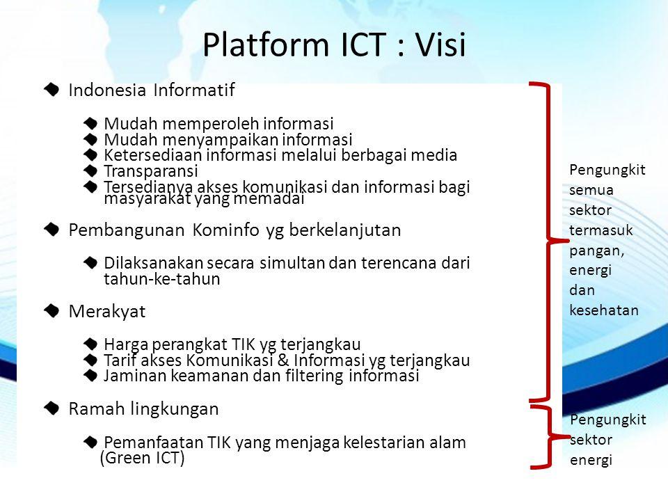 Platform ICT : Visi Indonesia Informatif Mudah memperoleh informasi Mudah menyampaikan informasi Ketersediaan informasi melalui berbagai media Transparansi Tersedianya akses komunikasi dan informasi bagi masyarakat yang memadai Pembangunan Kominfo yg berkelanjutan Dilaksanakan secara simultan dan terencana dari tahun-ke-tahun Merakyat Harga perangkat TIK yg terjangkau Tarif akses Komunikasi & Informasi yg terjangkau Jaminan keamanan dan filtering informasi Ramah lingkungan Pemanfaatan TIK yang menjaga kelestarian alam (Green ICT) Pengungkit semua sektor termasuk pangan, energi dan kesehatan Pengungkit sektor energi