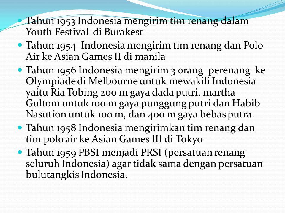  Pada tahun 1963 Indonesia harus mundur dari keanggotaan FINA (Federation International de Natation Amateur) karena saat itu pemerintah Indonesia akan menjadi tuan rumah dan berpartisipasi dalam Ganefo (Games of The New Emerging Forces) ke I.