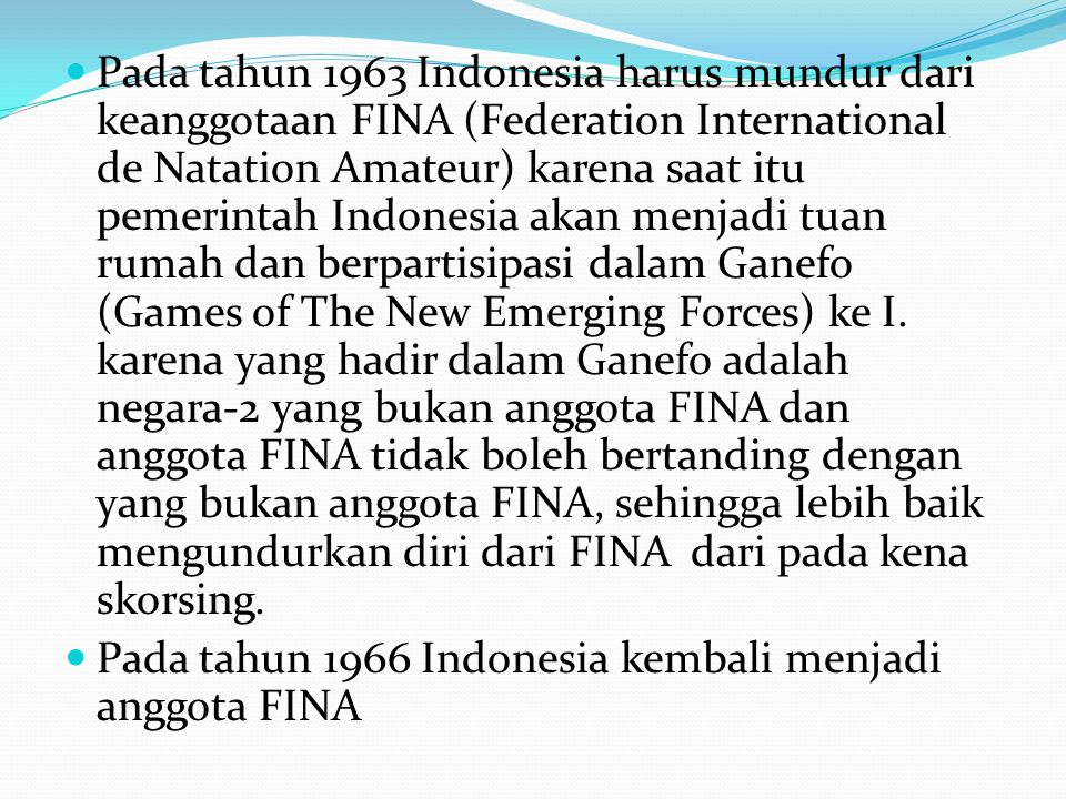  Pada tahun 1973 ada perubahan pengelompokan kelompok umur dalam renang dari yang ditetapkan pada tahun 1968 yaitu:  Kelompok umur IV= 10 tahun dan dibawahnya  Kelompok umur III= 11-12 tahun  Kelompok umur II= 13-14 tahun  Kelompok umur I= 15-17 tahun  Kelompok senior= 18 tahun ke atas  Pada tahun 1983 pada sidang umum PRSI ke 9 di malang Jawa Timur menetapkan Dadang Suprayogi ditetapkan menjadi Bapak Renang Seluruh Indonesia  Pada tahun 2001 pada sidang umum ke 11 di Jakarta menetapkan tambahan cabang olahraga alam (Open water Swimming sebagai sub cabang baru di PRSI.
