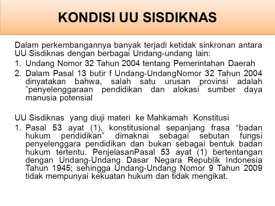 Dalam perkembangannya banyak terjadi ketidak sinkronan antara UU Sisdiknas dengan berbagai Undang-undang lain: 1.Undang Nomor 32 Tahun 2004 tentang Pe
