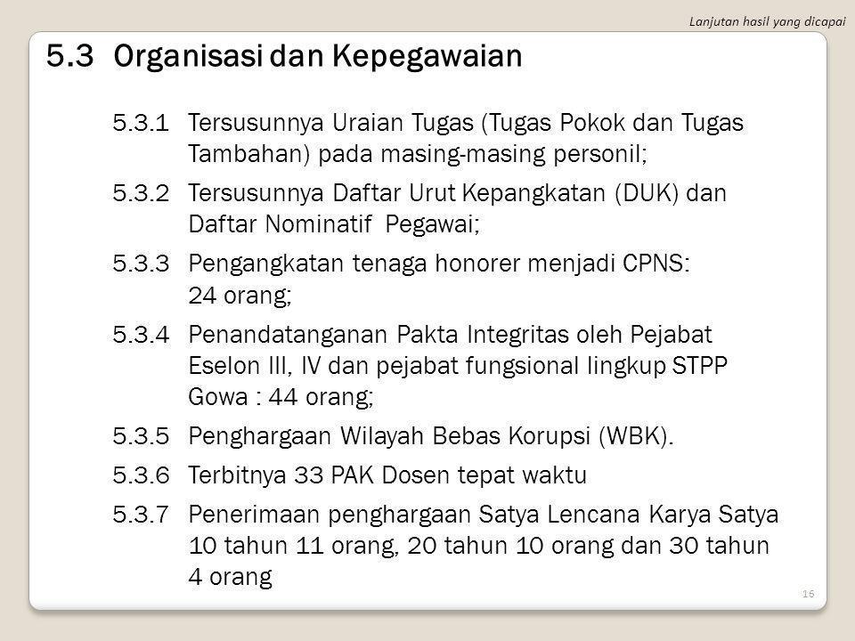 15 5.2Keuangan dan Perlengkapan 5.2.1Tersedianya Laporan Sistem Akuntansi Instansi (Keuangan dan Neraca); 5.2.2Terlaksananya rekonsiliasi anggaran Sat