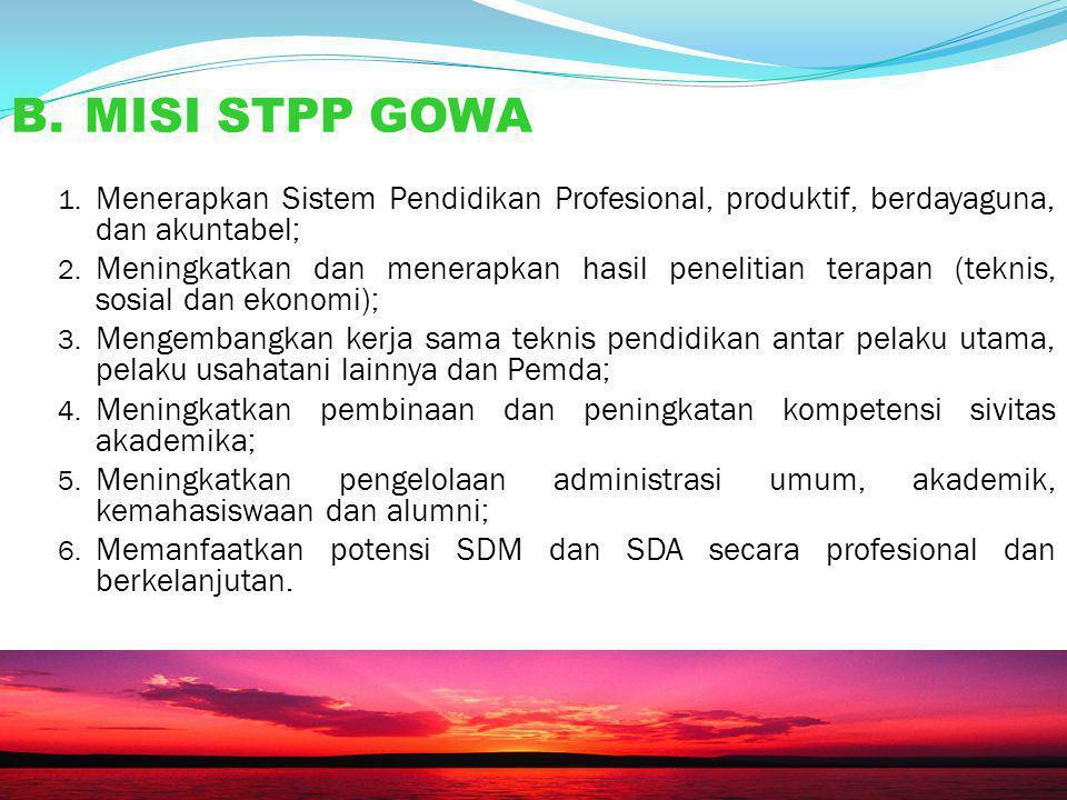 """A. VISI Hasil diskusi RAPIM """"Menjadi lembaga Pendidikan Tinggi Fungsional Pertanian Terdepan di Kawasan Timur Indonesia"""" 20"""