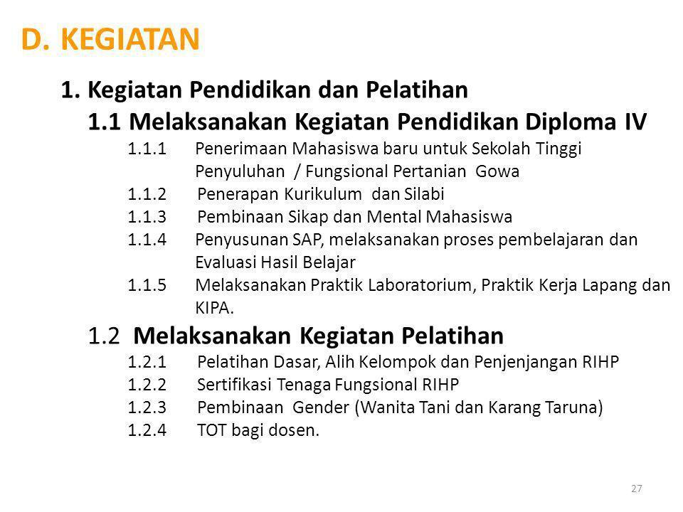 C.PROGRAM STPP GOWA 1.Penataan Administrasi dan Struktur Organisasi baru 2.Penataan Sistem Pendidikan dan Pelatihan Pertanian 3.Penataan, Penyempurnaa