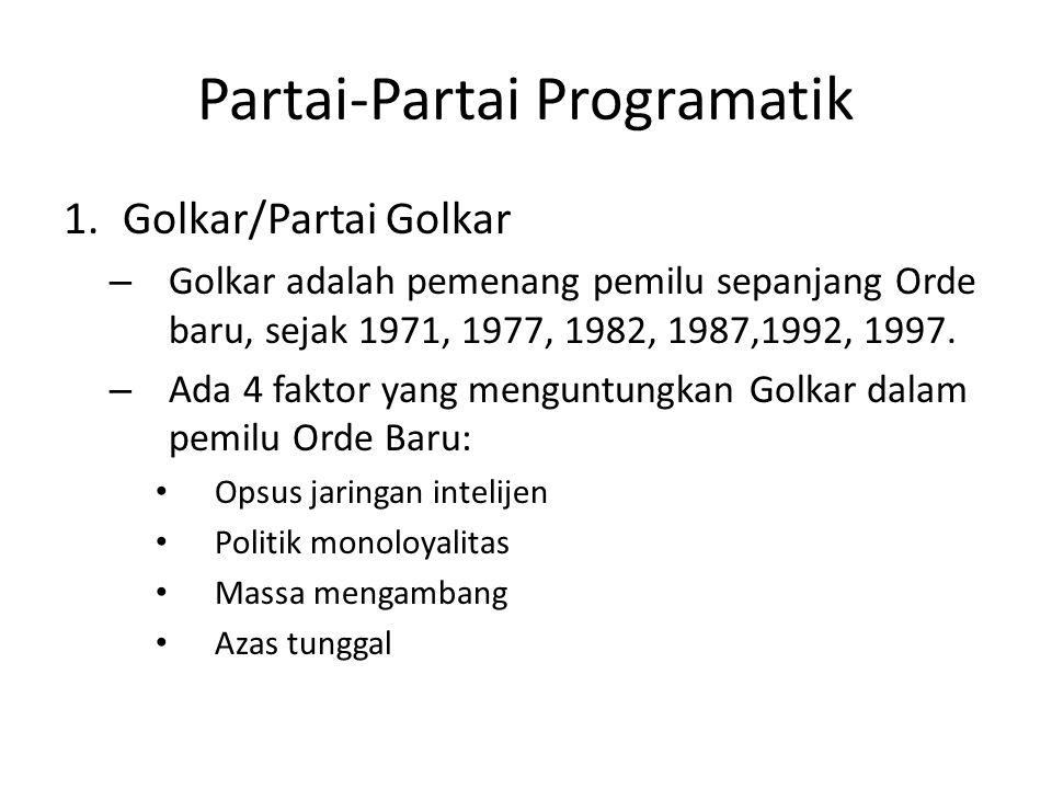 Partai-Partai Programatik 1.Golkar/Partai Golkar – Golkar adalah pemenang pemilu sepanjang Orde baru, sejak 1971, 1977, 1982, 1987,1992, 1997.