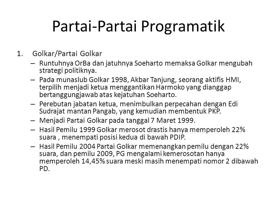 Partai-Partai Programatik 1.Golkar/Partai Golkar – Runtuhnya OrBa dan jatuhnya Soeharto memaksa Golkar mengubah strategi politiknya. – Pada munaslub G