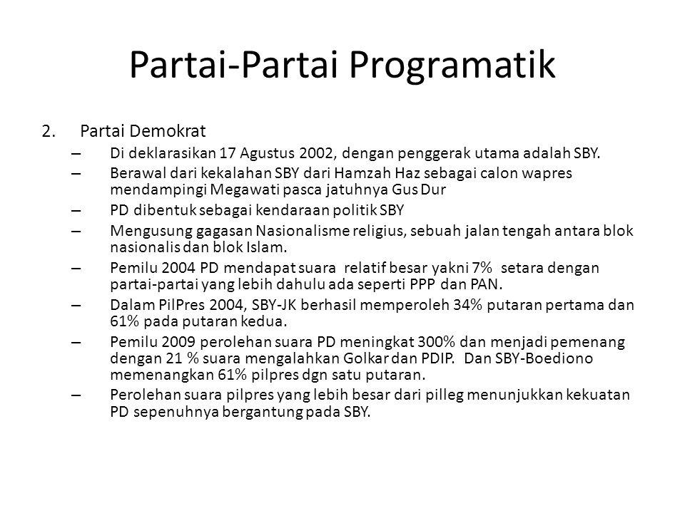 Partai-Partai Programatik 2.Partai Demokrat – Di deklarasikan 17 Agustus 2002, dengan penggerak utama adalah SBY. – Berawal dari kekalahan SBY dari Ha