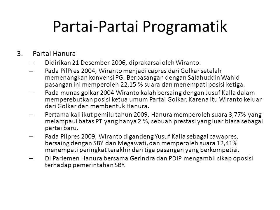 Partai-Partai Programatik 3.Partai Hanura – Didirikan 21 Desember 2006, diprakarsai oleh Wiranto. – Pada PilPres 2004, Wiranto menjadi capres dari Gol