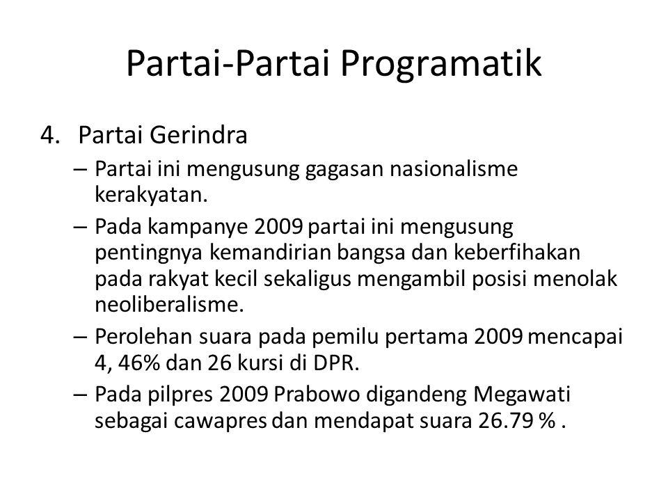 Partai-Partai Programatik 4.Partai Gerindra – Partai ini mengusung gagasan nasionalisme kerakyatan. – Pada kampanye 2009 partai ini mengusung pentingn