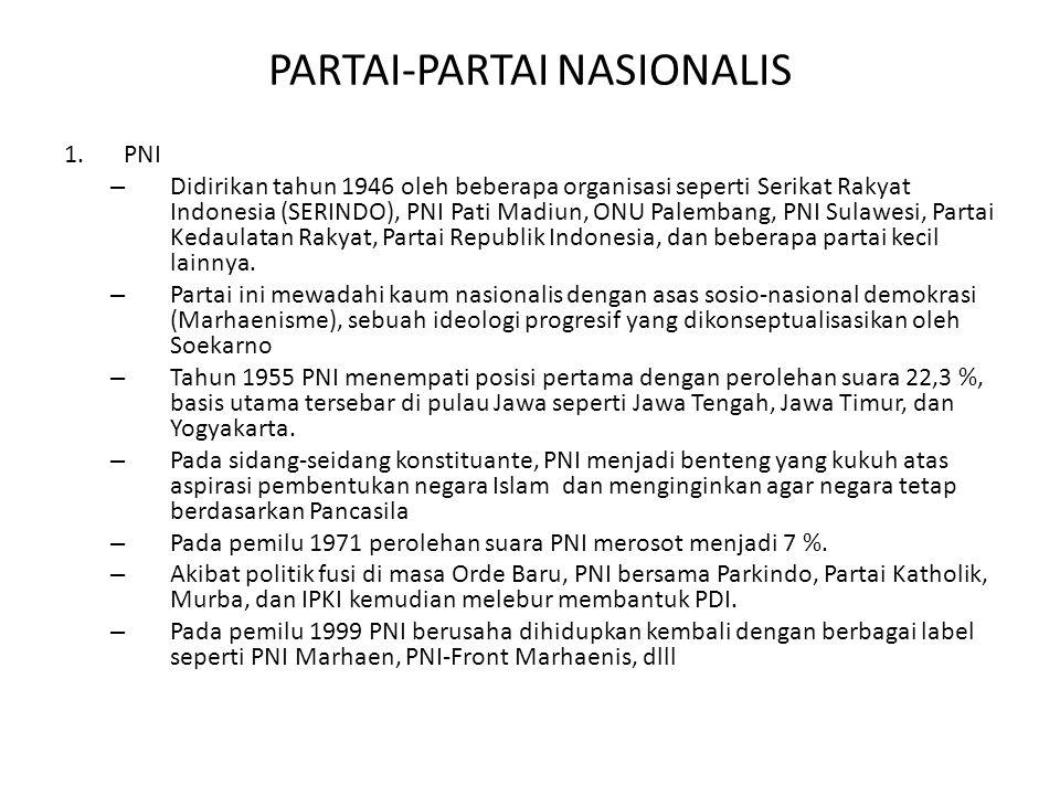 PARTAI-PARTAI NASIONALIS 1.PNI – Didirikan tahun 1946 oleh beberapa organisasi seperti Serikat Rakyat Indonesia (SERINDO), PNI Pati Madiun, ONU Palembang, PNI Sulawesi, Partai Kedaulatan Rakyat, Partai Republik Indonesia, dan beberapa partai kecil lainnya.