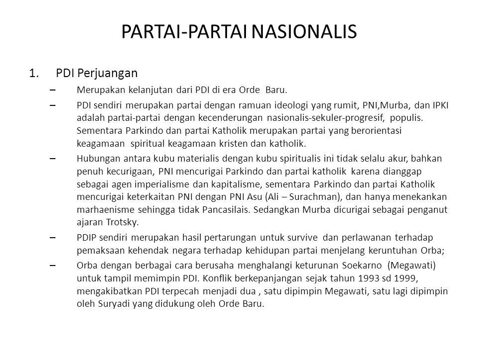 PARTAI-PARTAI NASIONALIS 1.PDI Perjuangan – Merupakan kelanjutan dari PDI di era Orde Baru. – PDI sendiri merupakan partai dengan ramuan ideologi yang