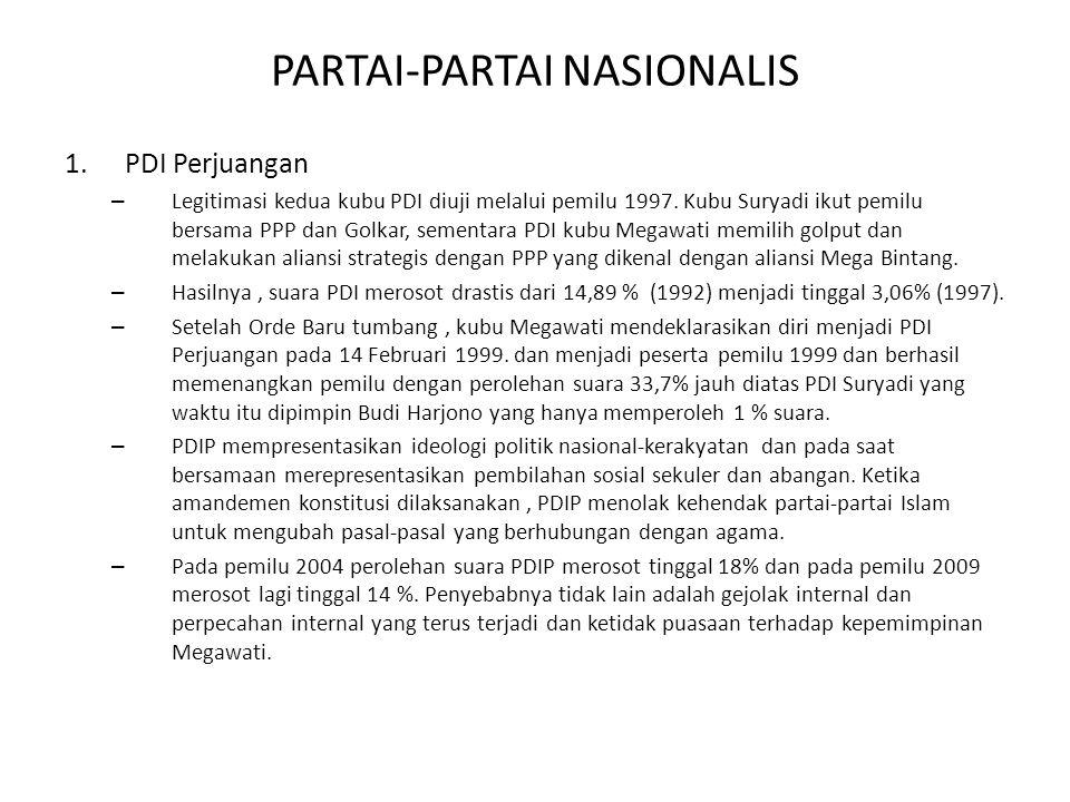 PARTAI-PARTAI NASIONALIS 1.PDI Perjuangan – Legitimasi kedua kubu PDI diuji melalui pemilu 1997. Kubu Suryadi ikut pemilu bersama PPP dan Golkar, seme