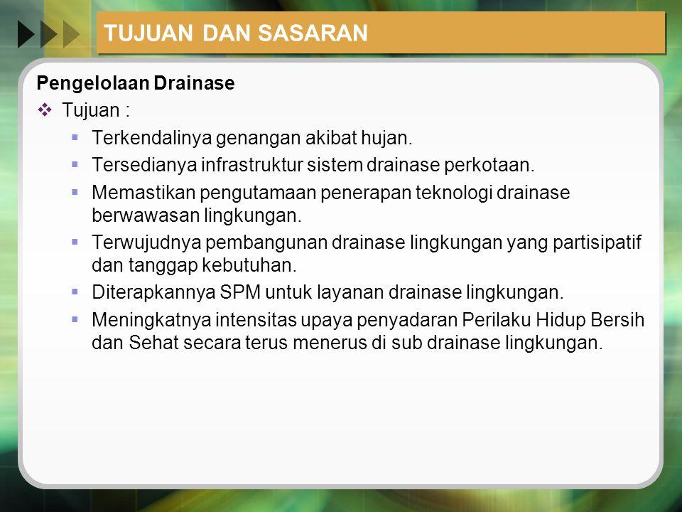 TUJUAN DAN SASARAN Pengelolaan Drainase  Tujuan :  Terkendalinya genangan akibat hujan.  Tersedianya infrastruktur sistem drainase perkotaan.  Mem