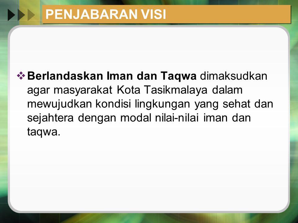 PENJABARAN VISI  Berlandaskan Iman dan Taqwa dimaksudkan agar masyarakat Kota Tasikmalaya dalam mewujudkan kondisi lingkungan yang sehat dan sejahter