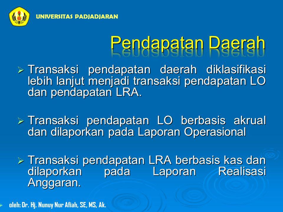  Transaksi pendapatan daerah diklasifikasi lebih lanjut menjadi transaksi pendapatan LO dan pendapatan LRA.
