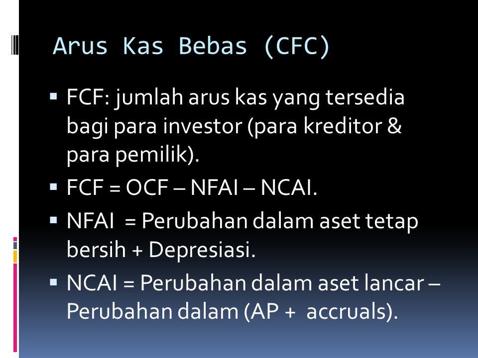 Arus Kas Operasi (OCF)  OCF: arus kas yang dihasilkan dari operasi 2 nomal– memproduksi & menjual output barang2 atau jasa2.  OCF = NOPAT + Depresia