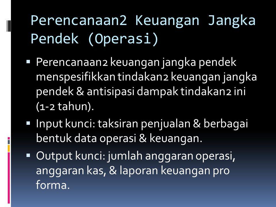 Perencanaan2 Keuangan Jk Panjang (Strategis)  Perencanaan jangka panjang: tindakan2 & antisipasi keuangan yang direncanakan perusahaan yang berpengar