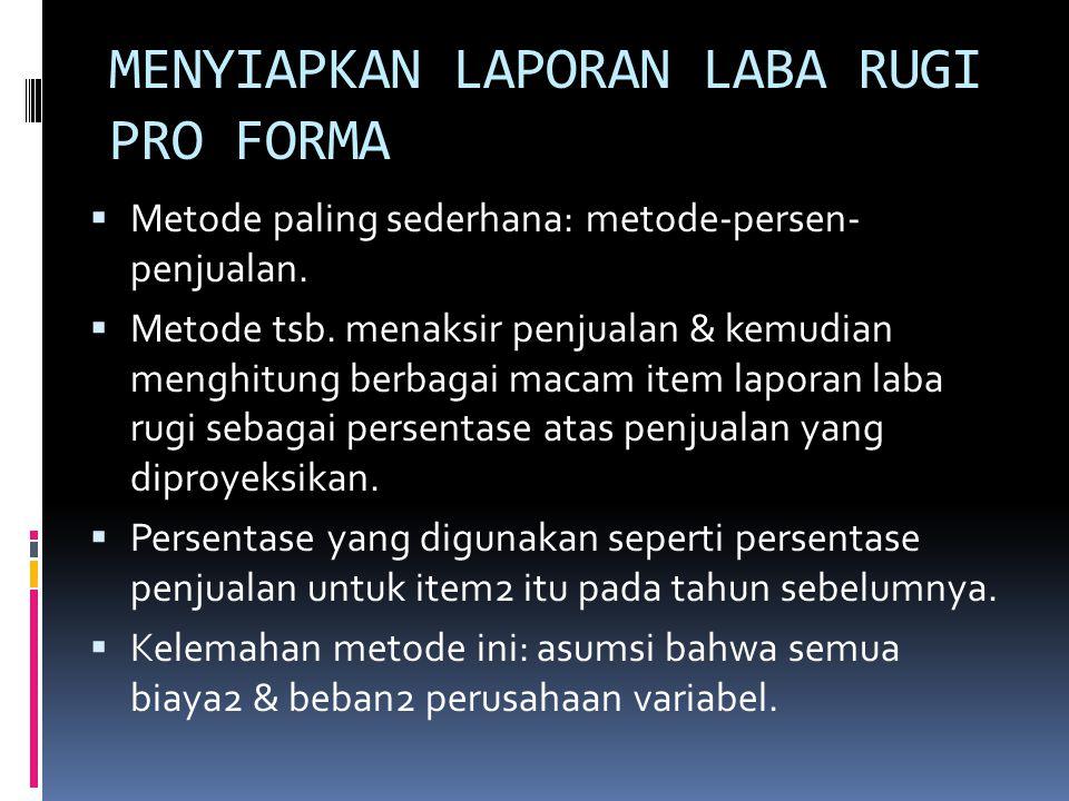 PERENCANAAN KEUNTUNGAN: LAPORAN2 PRO FORMA  Laporan2 pro forma: laporan2 laba rugi & neraca yang diproyeksikan, atau ditaksir.  Dua input yang dibut