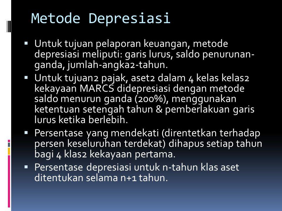 MENGANALISIS ARUS KAS PERUSAHAAN  Depresiasi untuk tujuan2 pajak diten tukan dengan menggunakan sistem pemulihan biaya percepatan yang dimodifikasi (