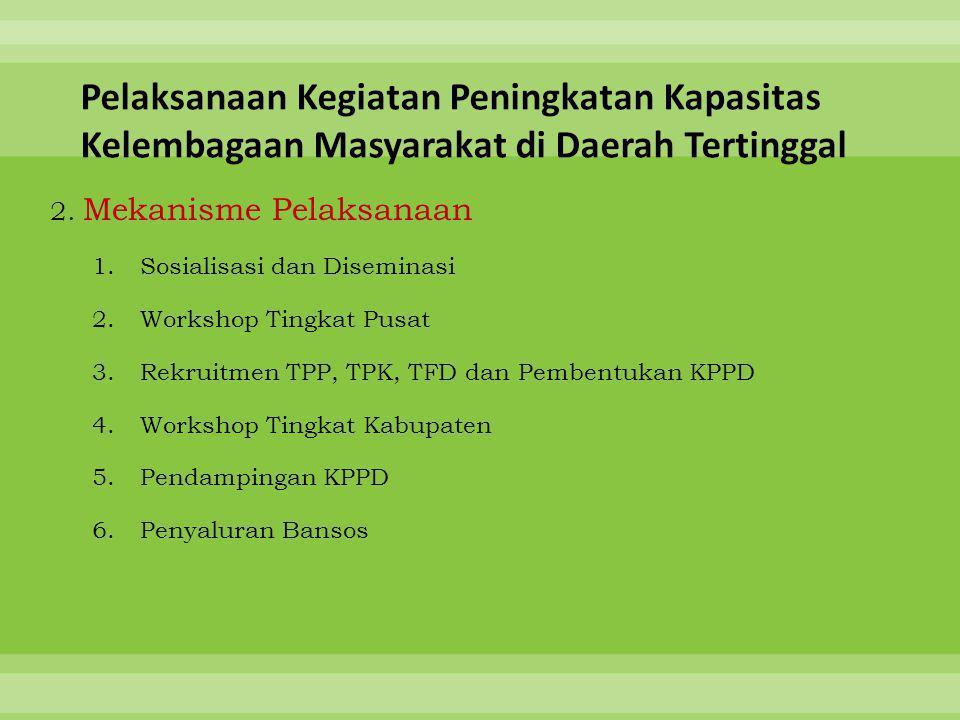 2. Mekanisme Pelaksanaan 1.Sosialisasi dan Diseminasi 2.Workshop Tingkat Pusat 3.Rekruitmen TPP, TPK, TFD dan Pembentukan KPPD 4.Workshop Tingkat Kabu