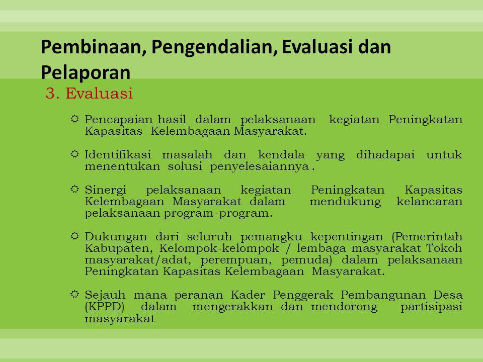 3. Evaluasi  Pencapaian hasil dalam pelaksanaan kegiatan Peningkatan Kapasitas Kelembagaan Masyarakat.  Identifikasi masalah dan kendala yang dihada
