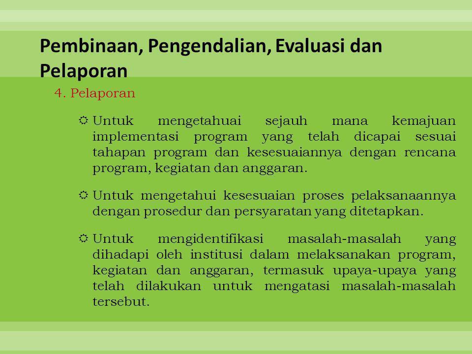 4. Pelaporan  Untuk mengetahuai sejauh mana kemajuan implementasi program yang telah dicapai sesuai tahapan program dan kesesuaiannya dengan rencana