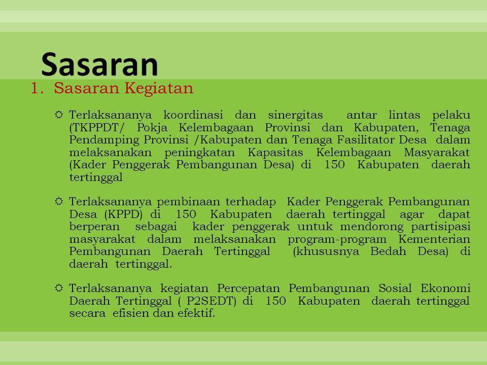 1.Sasaran Kegiatan  Terlaksananya koordinasi dan sinergitas antar lintas pelaku (TKPPDT/ Pokja Kelembagaan Provinsi dan Kabupaten, Tenaga Pendamping