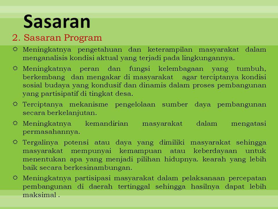 2. Sasaran Program  Meningkatnya pengetahuan dan keterampilan masyarakat dalam menganalisis kondisi aktual yang terjadi pada lingkungannya.  Meningk